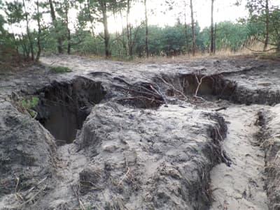 Hull etter ulovlig gruvedrift i skogen i Stogi